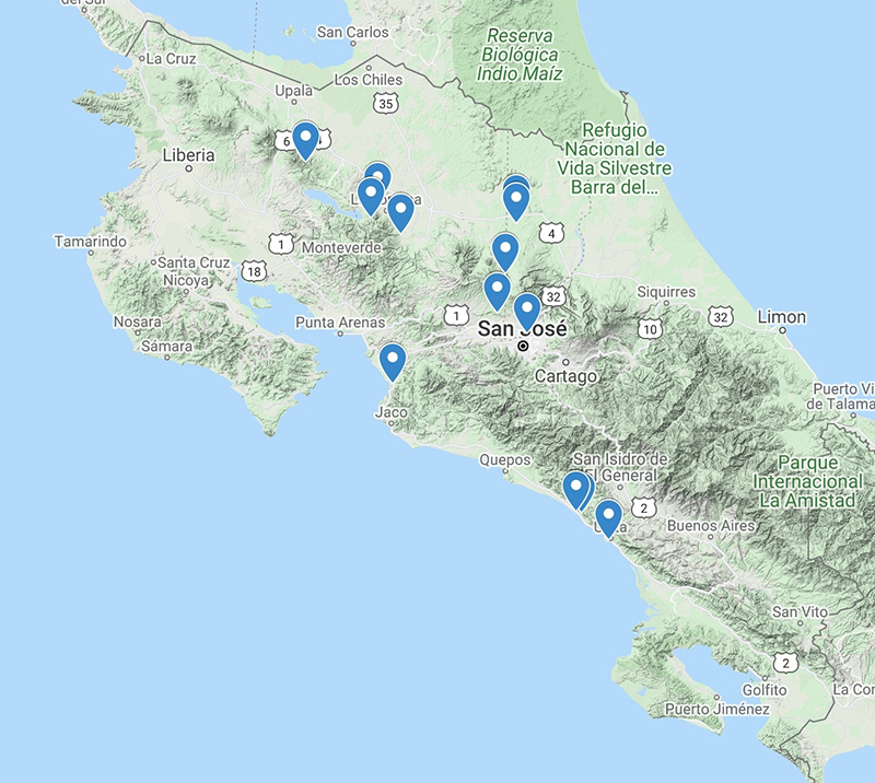 Costa Rica Familes 2022 Map Ecotours