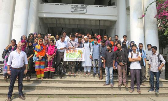 Dhaka University Group Class Flag Photo Outside 2 a