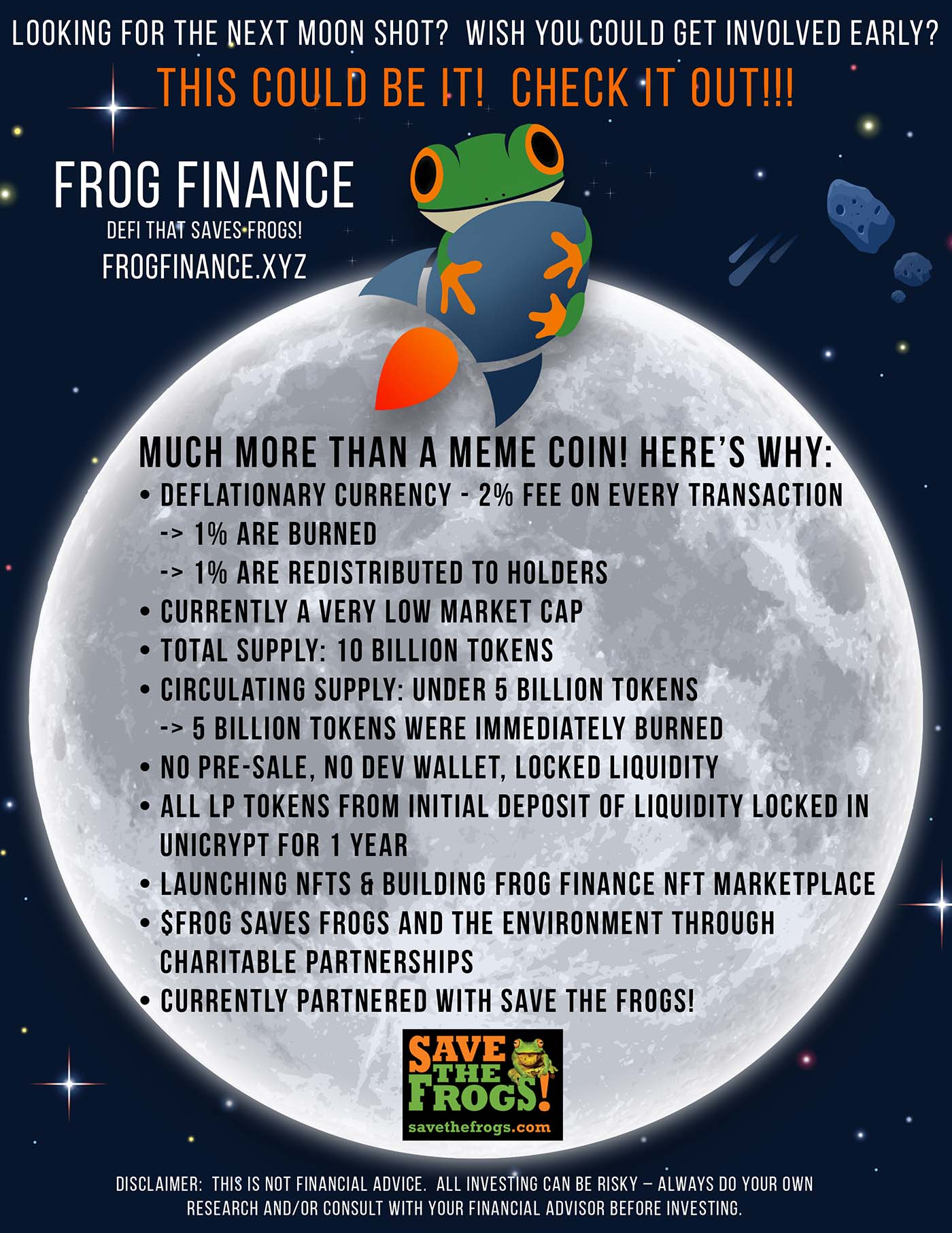 Frog Finance Flyer - Save The Frogs