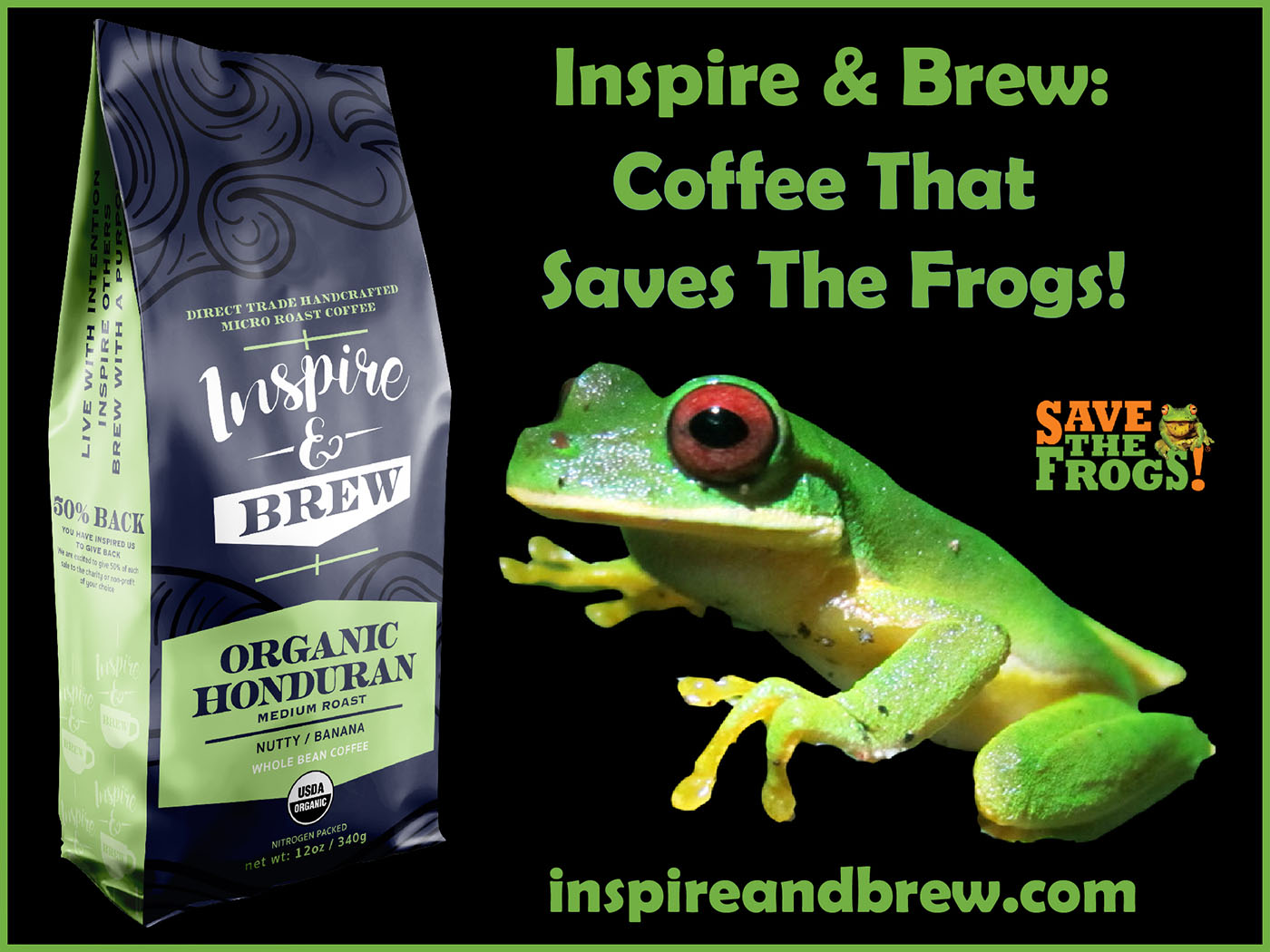 Inspire And Brew - Fair Trade Certified Coffee Frogs