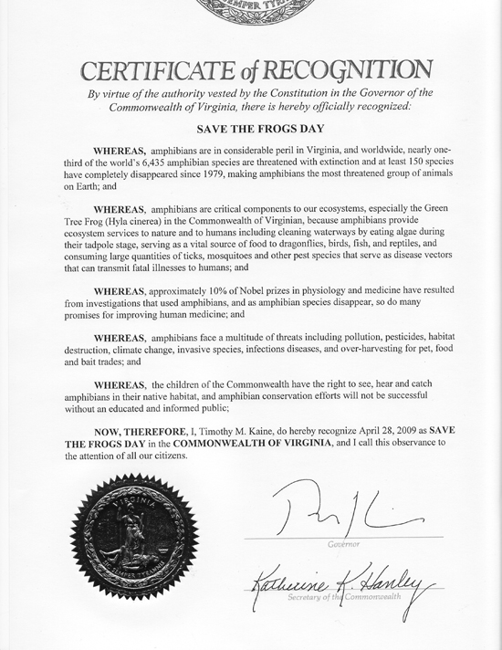 Tim Kaine Save The Frogs Day Proclamation