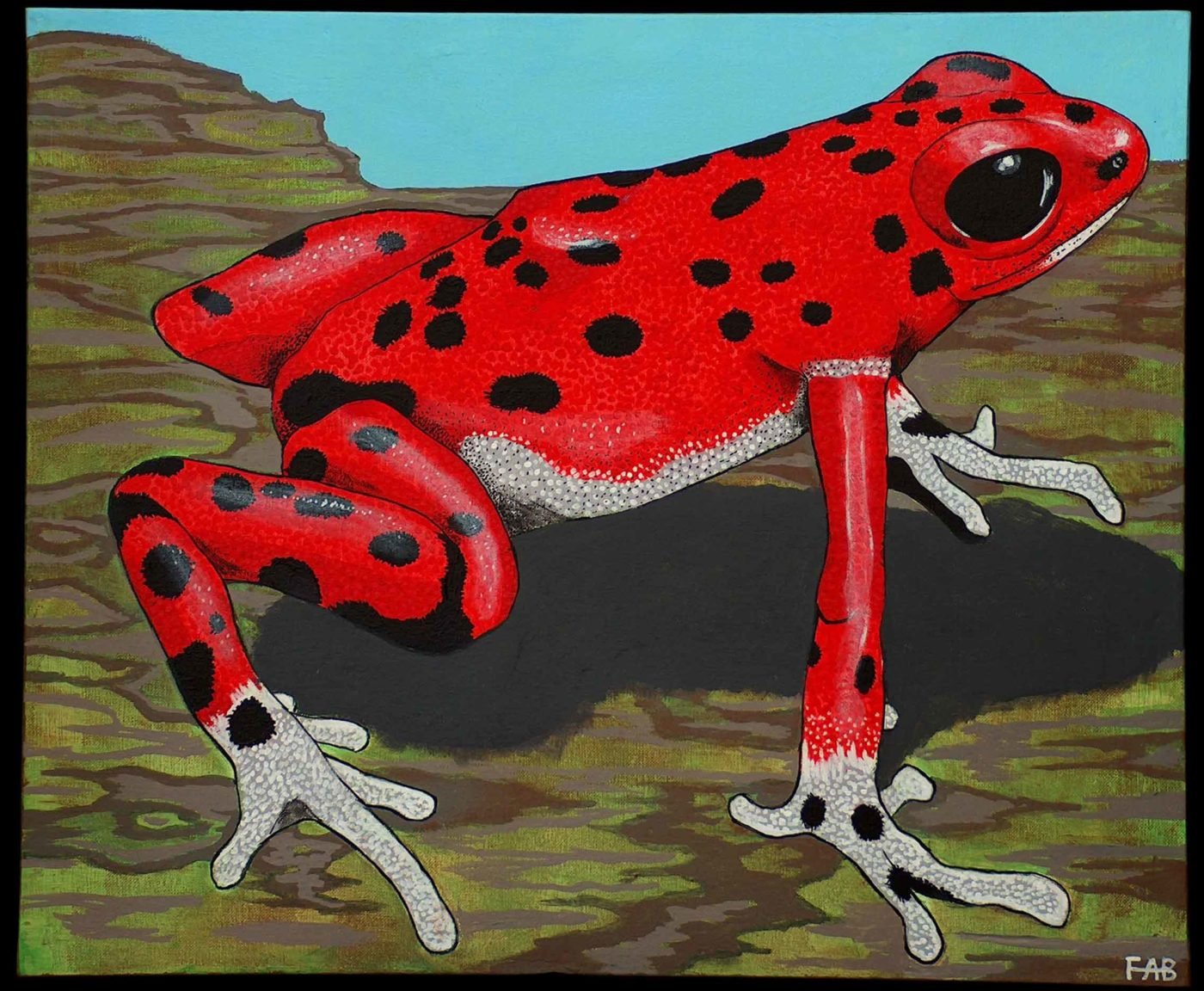 Strawberry Poison Dart Frog Art