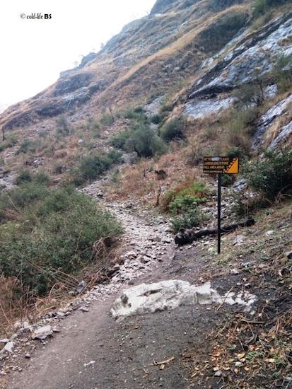 manaslu Landslide sign post installed by MCAP biraj shrestha